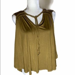 Free People Sleeveless Elm olive Green Top
